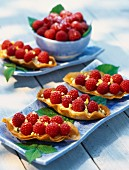 Raspberries in filo pastry boats