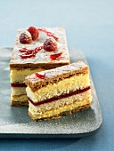 rapberry flaky pastry layered dessert