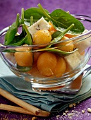 melon salad with gorgonzola and spinach shoots (topic: summer salads)