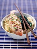 Poached fish with lime and spinach shoots