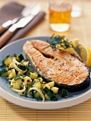 Salmon steak with courgettes