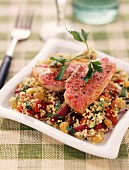 Roasted red mullet with hot spicy tabbouleh