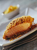 Piece of salmon with gingerbread crust