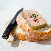 Slice of bread with foie gras