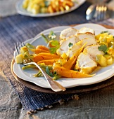 Monkfish with carrots,green apple and coriander