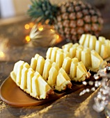 Pineapple boats with sliced pineapple