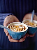 Yoghurt with caramel and grilled almonds