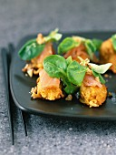 Sweet potato fritters with smoked salmon