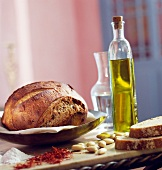 Farmhouse loaf of bread and olive oil