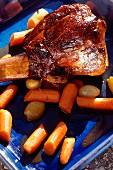 Roast lamb with carrots