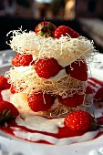Crispy layered cake made with kadaif, strawberries and mascarpone cream