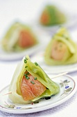 Smoked salmon and leeks with french dressing