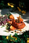 Saddle of lamb with herbs and polenta