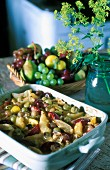 Fruit gratin with pears and grapes