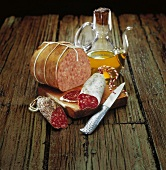 Selection of hams and saucisson sausages