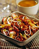 Vegetable salad with pine nuts, sweetcorn and kidney beans