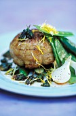 Roast veal thick flank with dandelion flowers