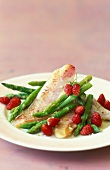 Surmullet fillets with asparagus and wild strawberries