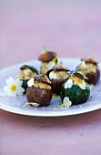 Stuffed vegetables with primroses