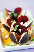 Figs with honey and pansies