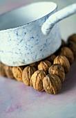 Walnuts and a saucepan