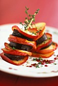 Warm black pudding apple millefeuille