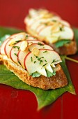 Ewe's cheese,apple and almond open sandwich