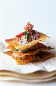 Sea bream tartare with layered flaky pastry and coconut