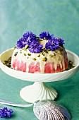Pistachio and rapsberry ice cream dessert
