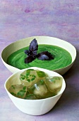 creamed avocado with black basil and ice cubes