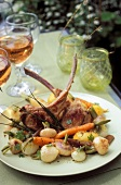 Lamb cutlets with glazed vegetables