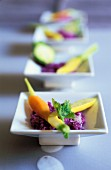 Red cabbage with baby vegetables