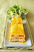 Leek timbale with crunchy vegetables