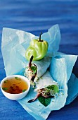 Shrimp spring roll with spicy sauce