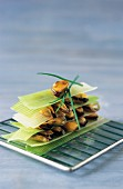 Leek and mussel layer