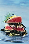 Choice tuna steak with sea spaghetti