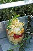 Verrine of celery with cucumber,tomatoes and cashew nuts