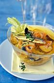 Vegetable and sardine consommé.