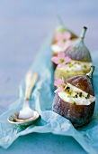 Fresh figs stuffed with fromage frais and meadow cardamine
