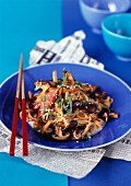 Sauteed noodles and chicken breast, soya, sesame and mushrooms
