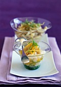 Scallop tartare with fennel fondue and citrus fruit dressing