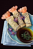Langoustines wrapped in filo-pastry,sesame seeds and sweet soya sauce