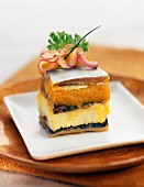 Herring savoury cake with stewed apricots