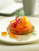 Salmon mille-feuille with yellow tomato
