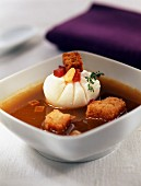 Garlic soup with croutons and hot pepper