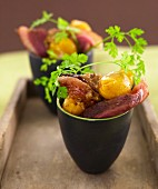 Duck aiguillettes with mirabelle plums