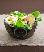 Mixed salad with foie gras