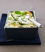 Courgettes,mozzarella and basil gratin