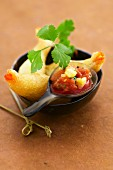Shrimp fritters with sweet and sour sauce