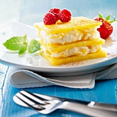 Pineapple mille-feuille with fresh cheese and raspberry